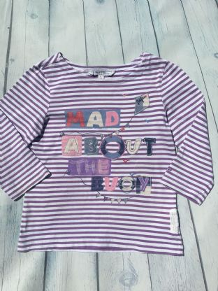 Fatface long sleeved purple and white striped top age 6-7